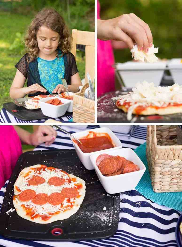 7 Fun Family Dinner Ideas - Pizza night with simple frozen cheese pizzas that you can top with all kinds of combinations in quadrants before baking. #familydinner #simplerecipe #recipe #dinner #dinnertime #pizza #pizzarecipe *Love this list of easy, kid-friendly ideas for super