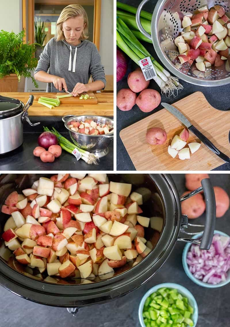 The slow cooker makes this meal super-easy: Just dice a few fresh ingredients, pop 'em into the Crock-Pot, and wait for the magic to happen... #Recipe #CrockPot #CrockPotSoup #Soup #SoupRecipe #SlowCooker #PotatoSoup #EasyRecipe #EasyPeasyFood *Love making this Crock-Pot potato soup recipe with my kids! Such a great way to connect and so delicious!