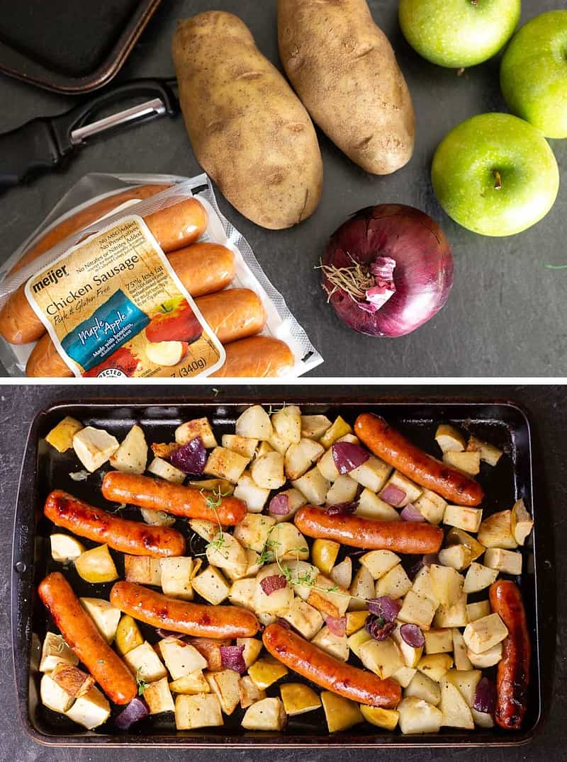 With only five ingredients this oven-roasted sausage and potatoes bake is easy, simple, and delicious. Perfect for a school-night family dinner. Chicken sausage and apples give this classic a delicious fall spin. #dinner #recipe #onepotmeal *My kids love this recipe (minus the suggested dollop of mustard!!!!)
