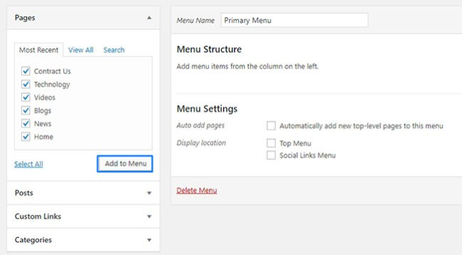 How to create and add a navigation menu in WordPress -3