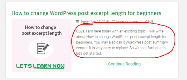What is post excerpt length in wordpress