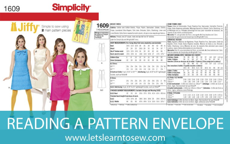 Learn how to read a sewing pattern envelope