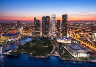 Skyline rendering of One Thousand Museum condos locted at 1000 Biscayne Blvd. in Downtown Miami, Florida.