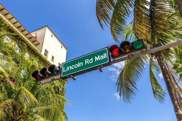 street sign Lincoln Road Mall in Miami Beach the famous central shopping mall street in the art deco district