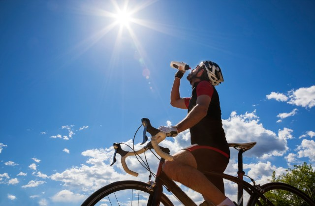 Biker and sports drink