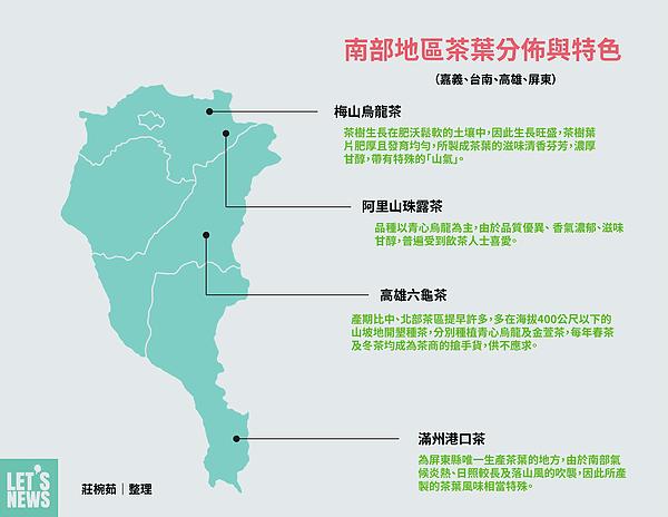 圖片說明/南部地區茶葉分佈、茶葉特色與名稱由來。