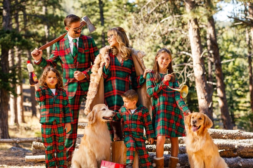 Shinesty Matching Family Holiday Outfits in Lincoln Log Pattern