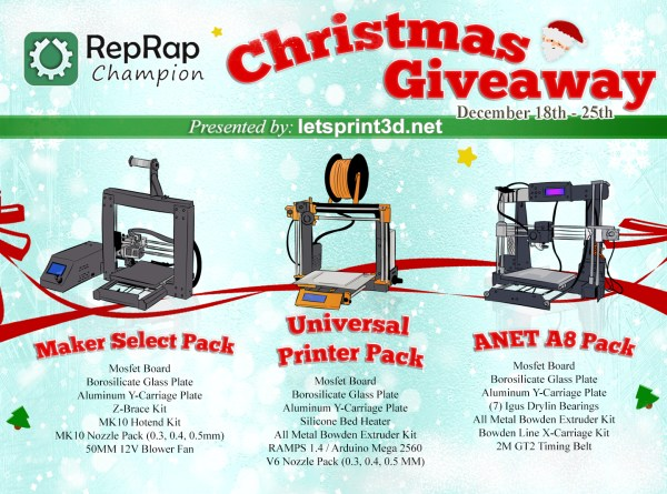 RepRap Champion's Christmas Giveaway (Finished)