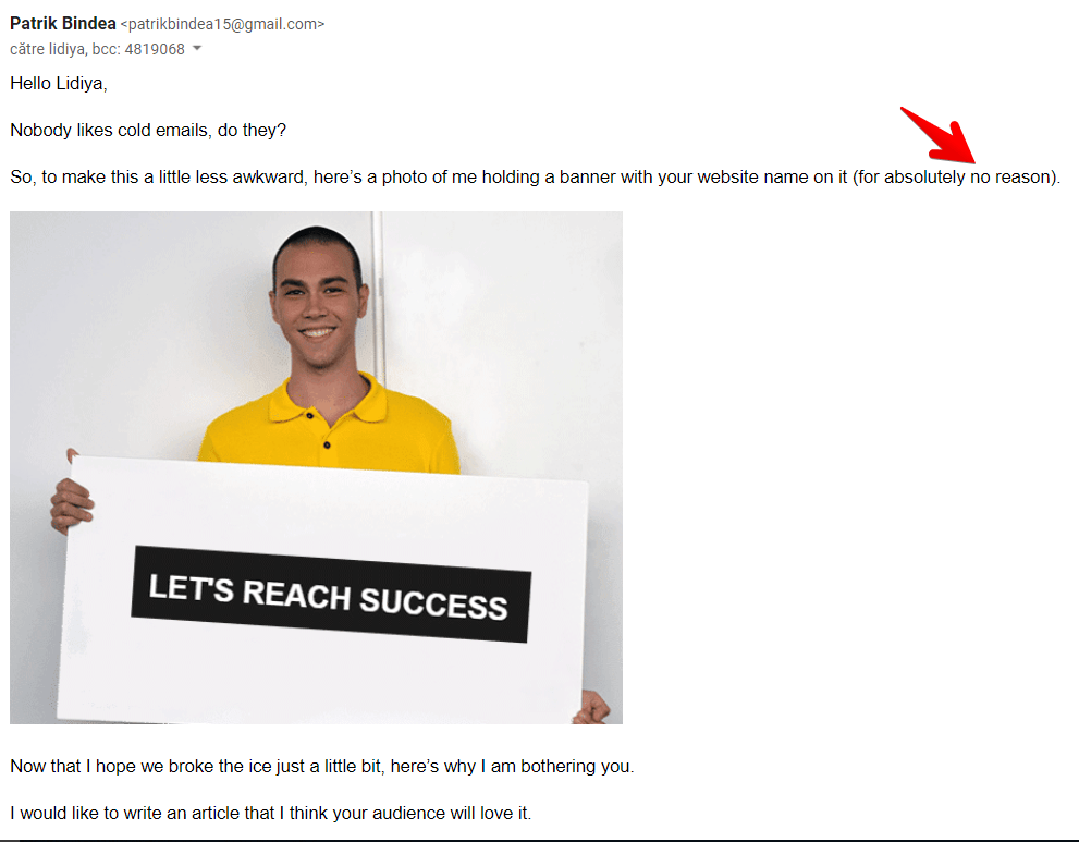 Outreach email intro letsreachsuccess.com