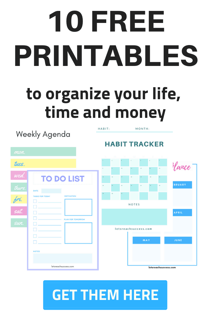 Grab 10 free printables, including a daily planner, to do list, habit tracker, chore planner, goal tracker, monthly planner, expenses tracker, and more. #freeprintables #printables #dailytracker #habittracker #monthlytracker