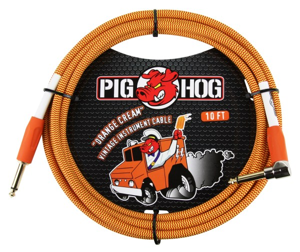 "Pig Hog 10ft x 8mm Vintage Series ""Orange Cream"" Instrument Cable, 1/4"" Right Angle Connector"