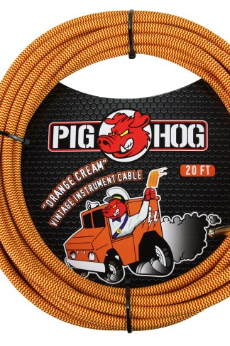"Pig Hog 20ft x 8mm Vintage Series ""Orange Cream"" Instrument Cable, 1/4"" Right Angle Connector"