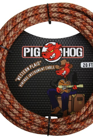 "Pig Hog 20ft x 8mm Vintage Series ""Western Plaid"" Instrument Cable, 1/4"" Right Angle Connector, 1/4"" Right Angle Connector"