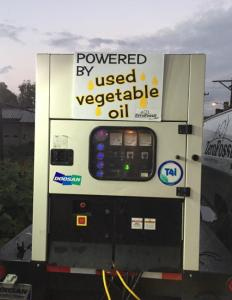 Vegetable oil generator at the carbon neutral Pittsburgh Taco Festival
