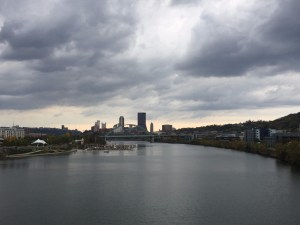 Pittsburgh skyline during bike ride