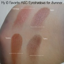 Mythology, Sable, Texture and Twinks M·A·C eyeshadows swatches