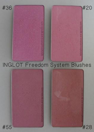INGLOT - Freedom System Blushes 20, 28, 36, 55
