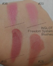 INGLOT - Freedom System Blushes 20, 28, 36, 55 (swatches)