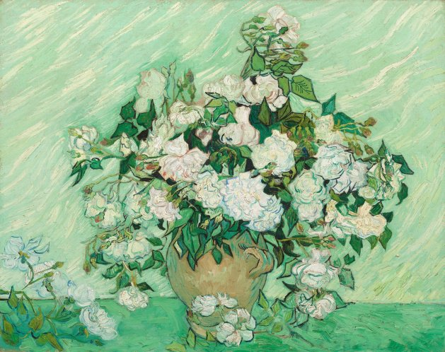 Van Gogh, Roses, 1890, o/c, National Gallery of Art, Washington, D.C. Photo: MMA