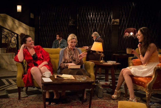L-R Stephanie Seward as April, Anna Holbrook as Millie, Alexandra Hellquist as Girl. Behind: Philip Rosen as Jamie and Peter Judd as Mr. Morse. Photo Bob Degus