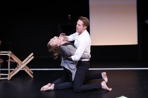 Maren Bush and Ben Cole in Wide Awake Hearts at 59E59 Theaters, January 2016. Photo by Carol Rosegg.