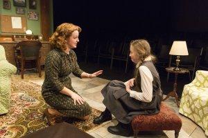 Emily Walton as Miss Jean Wade and Alexa Shae Niziak as Peggy Summers in Women Without Men by Hazel Ellis, Mint Theatre Production