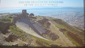 Arial panorama of the ancient theater at Pergamon and surrounding terrain, poster of exhibition Pergamon and the Hellenistic Kingdoms of the Ancient World, Metropolitan Museum of Art