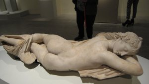 "Sleeping Hermaphrodite, Roman, first half of the 2nd century A.D., copy of a Greek original, marble, in ""Pergamon and the Hellenistic Kingdoms of the Ancient World"" Metropolitan Museum, NYC"