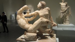 Satyr and Hermaphrodite, Roman marble copy of a Greek original, probably in bronze, of the 2nd century B.C. Height approximately 39 in. Soprintendnza Speciale per i Beni Archeologici di Pompei, Ercolana e Stabia.