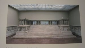 "Reconstructed west side of the Great Altar of Pergamoon as seen in the Pergamon Museum, Berlin. From ""Pergamon and the Hellenistic Kingdoms of the Ancient World"" exhibit at the Metropolitan Museum, NYC"