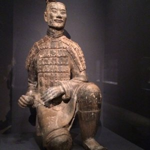 Kneeling Archer, China, Qin dynasty (221-106B.C.), terracotta with traces of pigments,H 48 in. (121.9 cm), lent by Emperor Qinshihuang's Masoleum Site Museum. Photos Robert Ruben and Yvonne Korshak