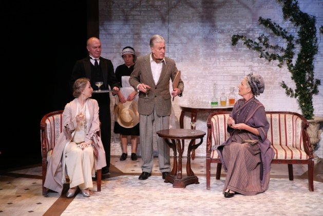 L-R Carol Starks as Hilda, Derek Hutchinson as Parsons, Annie Jackson as Alice, Brian Protheroe as Lord Kettlewell and Richenda Carey as Lady Knightbridge. Photo Carol Rosegg. In J. B. Priestley's The Roundabout at 59E59 Theaters