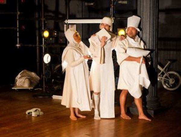 Mia Katigbak as Mama C, Marcus Ho as Rev and Orville Mendez as Cookie in NAATCO's <em>A Play on War.</em>  Photographer William P. Steele