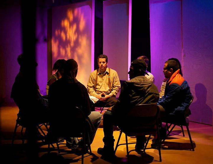 Group therapy: (right) Gil Ron as Dr. Jerry Rizzo (Center) and cast members of Raft of the Medusa, Barefoot Theatre Company at Cherry Lane Theatre. Photo: Michael Mallard