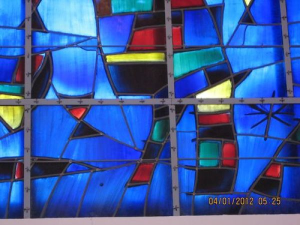 Joan Miro, large blue stained glass at Fondation Maeght, Saint-Paul de Vence, France, detail