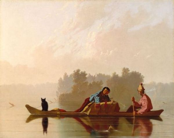 George Caleb Bingham, Fur Traders Descending the Missouri, 1845, o/c 29 x 36 1/2 in 73.7 x 92.7 cm