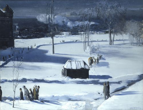 Blue Snow, The Battery, 1910, oil on canvas, 34×44 in (86.4×111.8cm), Columbus Museum of Art, Ohio, Museum Purchase Huwald Fund