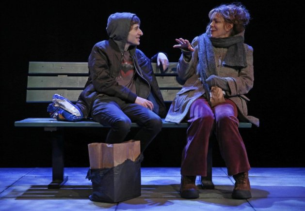 Noah Robbins as the boy and Deirdre O'Connell as the Woman. Photo Joan Marcus
