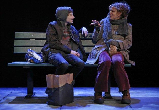 Noah Robbins as the boy and Deirdre O'Connell as the Woman. Photo Joan Marcus