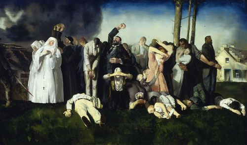 Massacre at Dinant. 1918, oil on canvas, 49 1/2×83 in (125.7×210.8 cm) Greenville County Museum of Art, Gift of Minor M. Shaw, Buck A. Mickel and Charles C. Mickel, and the Arthur and Holly Magill Fund