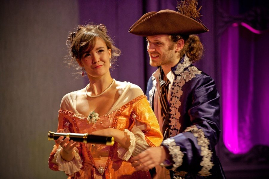 Watch out for that that telescope! ... Allison Buck as Amanda, Seth Moore as Worthy. Photo Aaron Zebrock