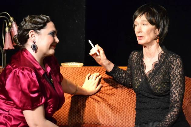 L-R Kim Rogers as Agatha Christie and Penny Lynn White as Alice B. Toklas. Photo: Samantha Mercado Tudda