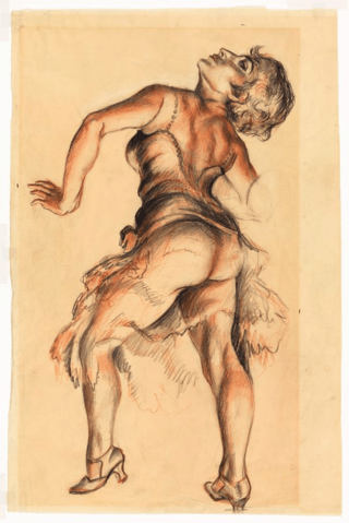 Dancer, 1930, pencil, crayon on paper, 21 1/4 x 14 in (54 x 35.6 cm). Courtesy of the Whitney Museum of American Art, New York