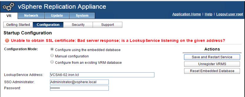 vSphere Replication Appliance: Unable to obtain SSL certificate: Bad