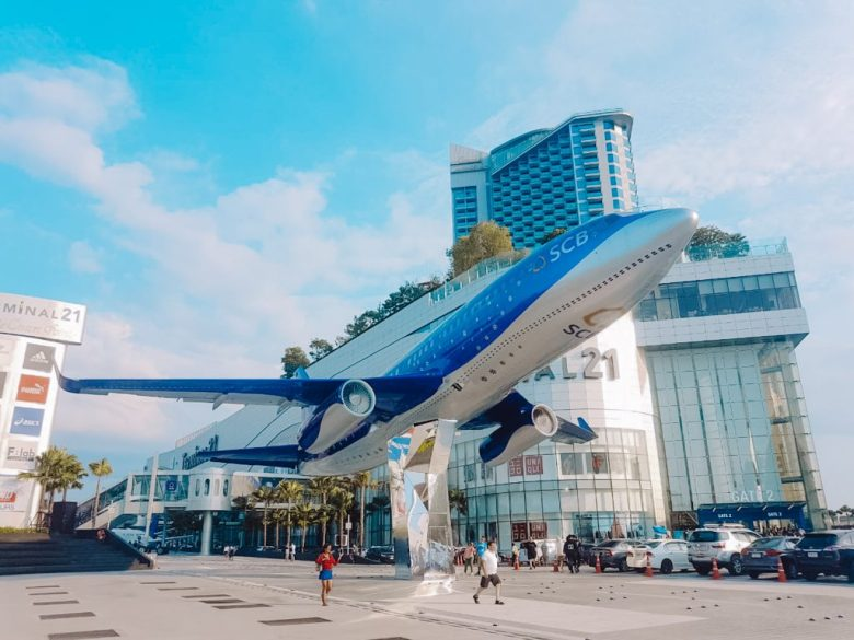 live size plane in front of terminal 21 mall.