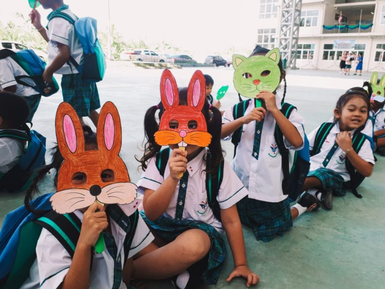 Students made a mask in the class for fun while teaching in Thailand.