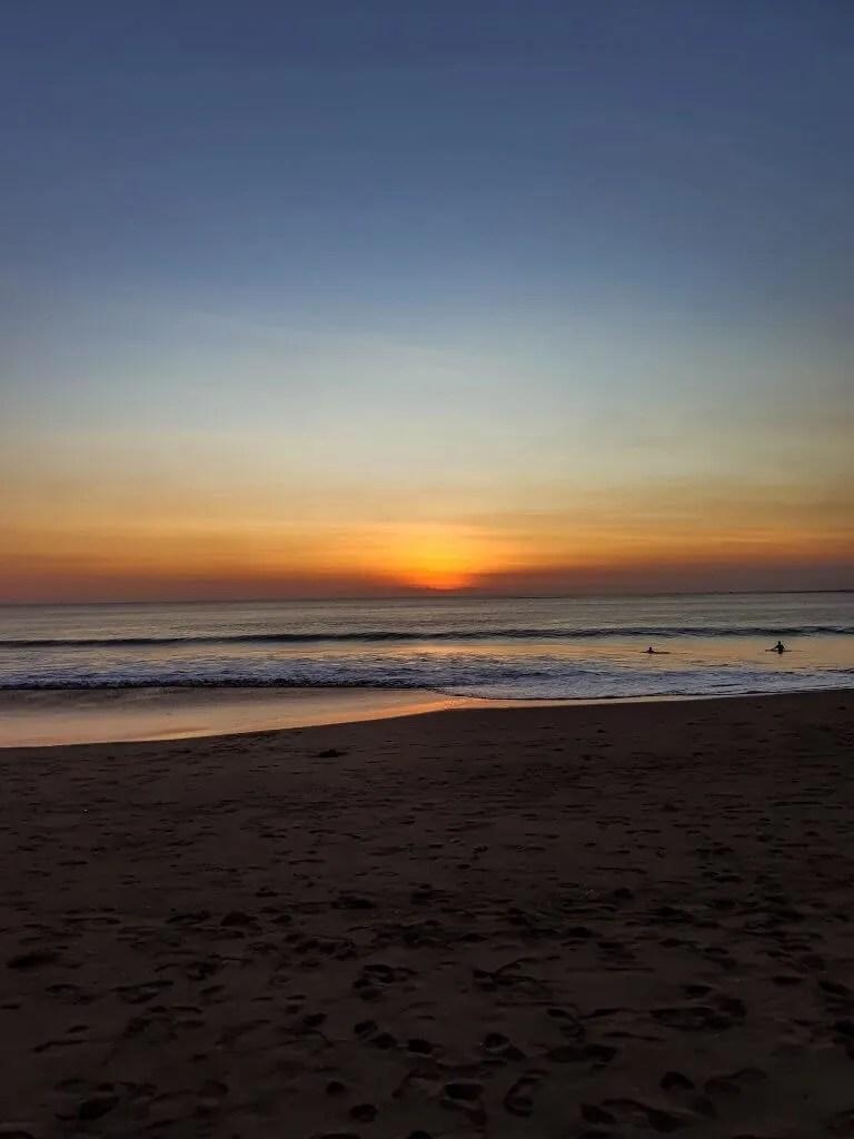 sunset on Jimbaran beach on Bali island