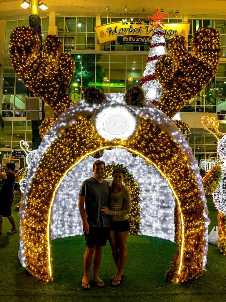 Chane and Jonathan admiring the Christmas lights put up in Hua Hin Town Thailand