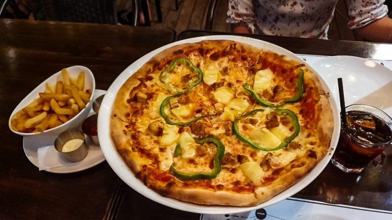 a delicious pizza at Asiatique market in Bangkok Thailand