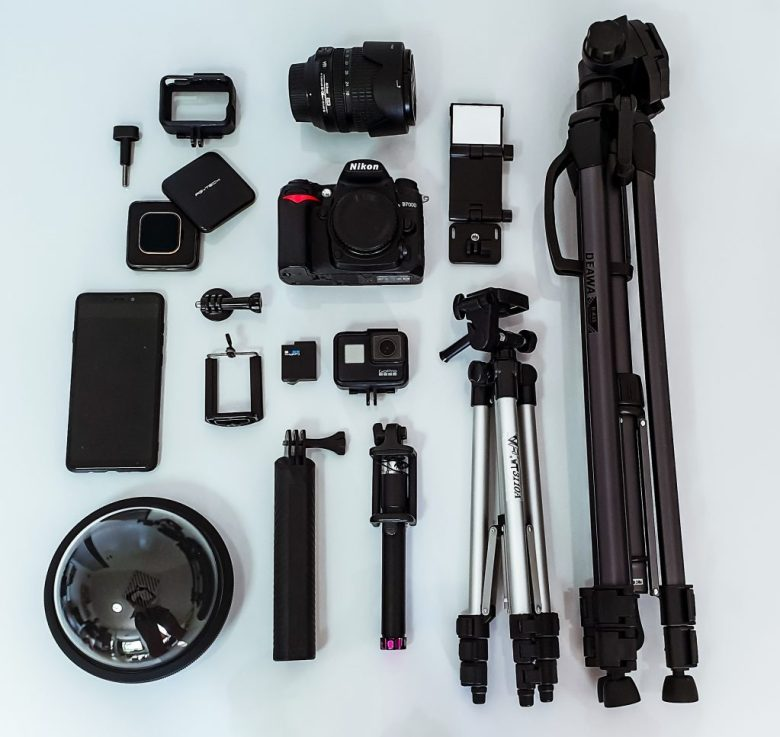 all the pieces of equipment we have in our camera bag that we use for travel photography